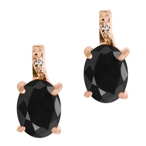 3.33 Ct Oval Black Sapphire Diamond Gold Plated Sterling Silver Earrings