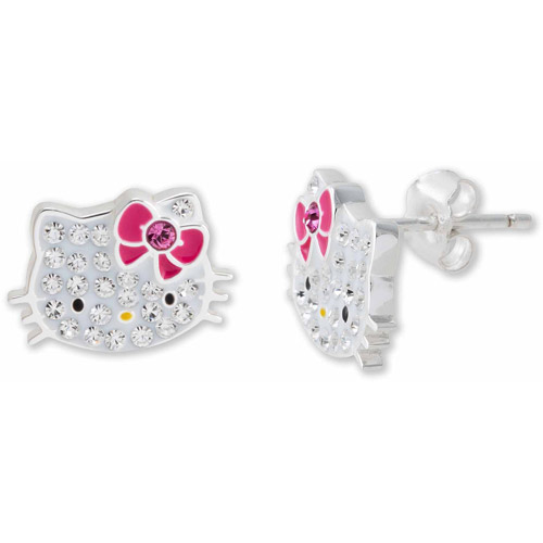 Hello Kitty Girl's Sterling Silver Clear Crystal Stud ...