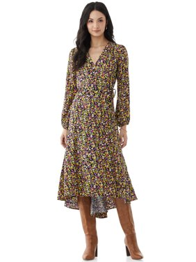 Scoop Womens Floral Print Maxi Wrap Dress