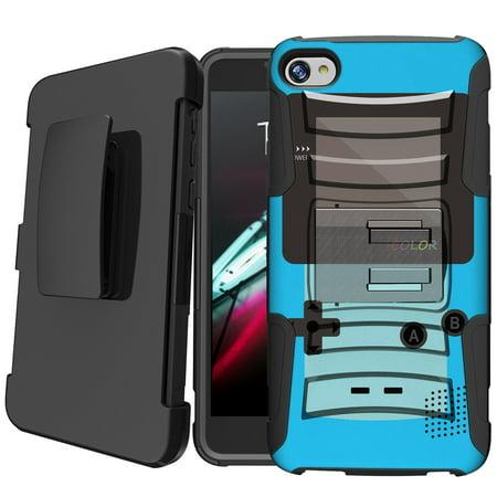 Alcatel Idol 5 [Cricket Version][ NOT FOR 5s] Holster Case [Retro Games Case][Hipster Design Series] w/ Built-In Kickstand + Bonus Holster - Blue (Best Cricket Games For Mobile)