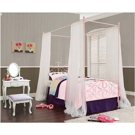 Powell Canopy Wrought Iron Princess Twin Bed, Multiple Colors
