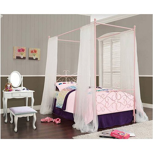 Canopy Wrought Iron Princess Twin Bed