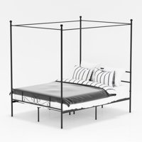 Teraves 4-Post Metal Full Canopy Bed Frame with Ball Design ,Slats ,Headboard and Footboard Black