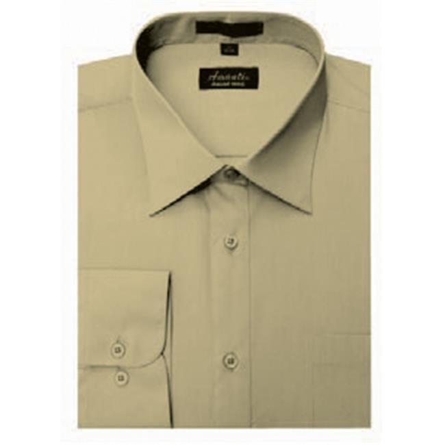 Amanti CL1022-14 1-2x32-33 Amanti Mens Wrinkle Free Tan Dress Shirt - Tan-14 1-2 x 32-33