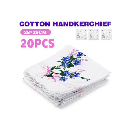 20pcs Cotton Handkerchief Vintage Ladies Women Pocket Floral Flowers Quadrate Hanky Hankies - Custom Handkerchief