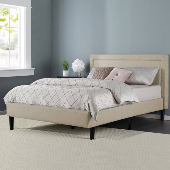 Zinus Upholstered Detailed Platform Bed With Headboard And