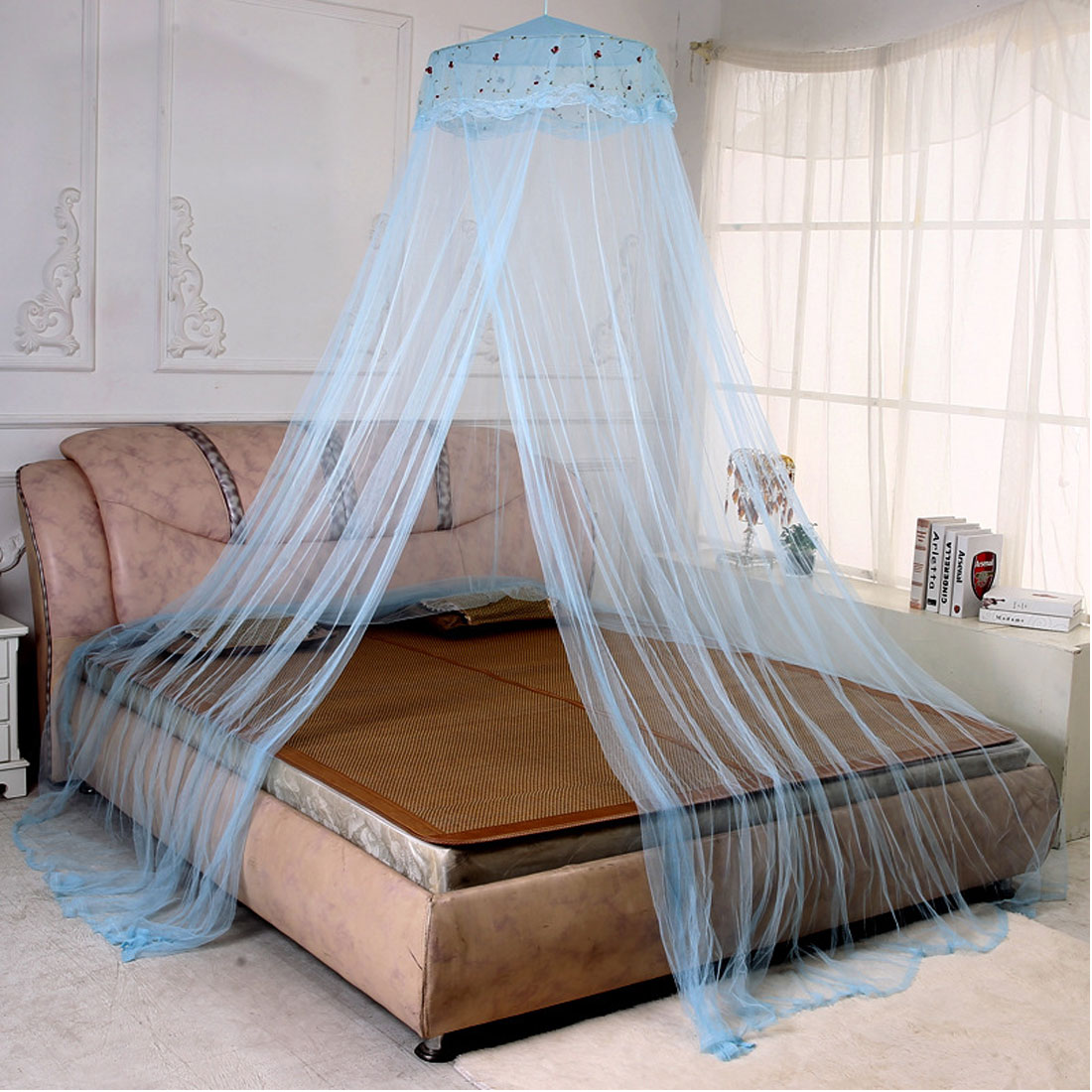 Unique Bargains Bedroom Dome Shaped Bugs  Mosquito Net Bed Canopy WhiteBlue