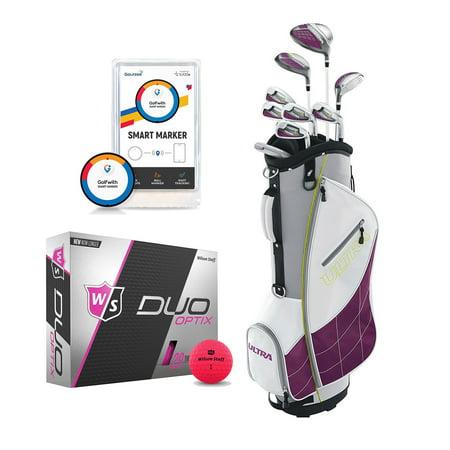 Wilson Womens Club Set w/Bag, Low Compression Golf Balls, Distance (Best Ladies Golf Balls For Distance)