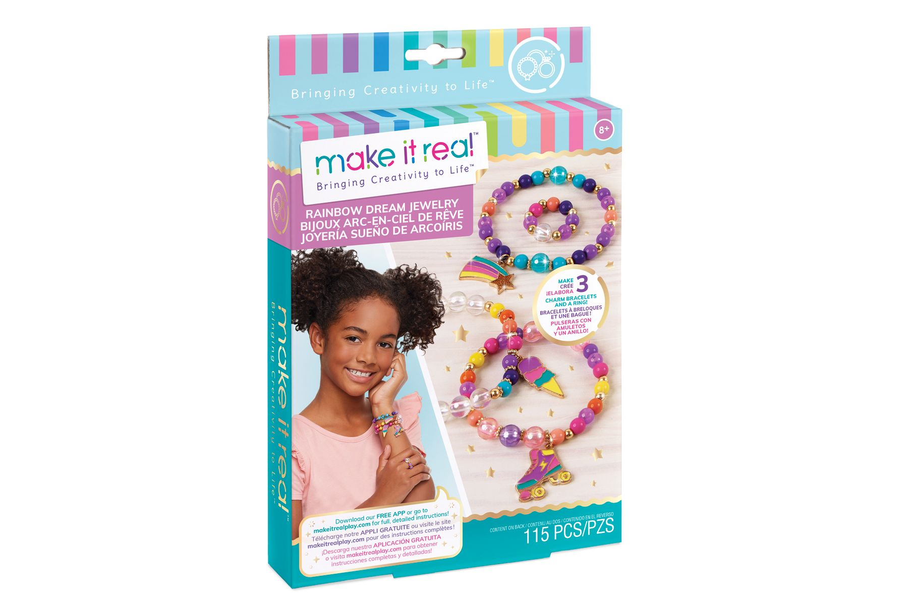 Arts and Crafts Kit Guides Kids to Create Unique Gold and Glitter Pendants for Necklaces Gold /& Glitter Accent Jewelry DIY Necklace /& Pendant Making Kit for Girls Make It Real