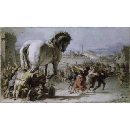 Procession of the Trojan Horse into Troy  1727  Giovanni Battista Tiepolo (1696-1770Italian) Oil on canvas National Gallery London Canvas Art - Giovanni Battista Tiepolo (24 x (Rinaldo Enchanted By Armida Giovanni Battista Tiepolo)