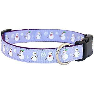 country brook design deluxe christmas snowman ribbon dog collar - large Dog Pet Christmas Ribbon Collar