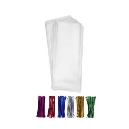 Tayyakoushi 200pcs Clear Long Candy Cello Treat Bags 2x10 with 4