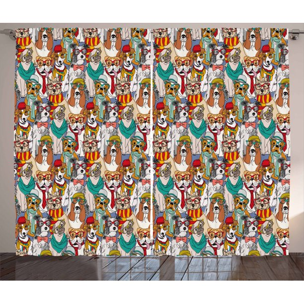 Dog Curtains 2 Panels Set Hipster Bulldog Schnauzer Pug Breeds With Glasses Hats Scarf Pattern Colorful Cartoon Window Drapes For Living Room Bedroom 108w X 63l Inches Multicolor By Ambesonne Walmart Com