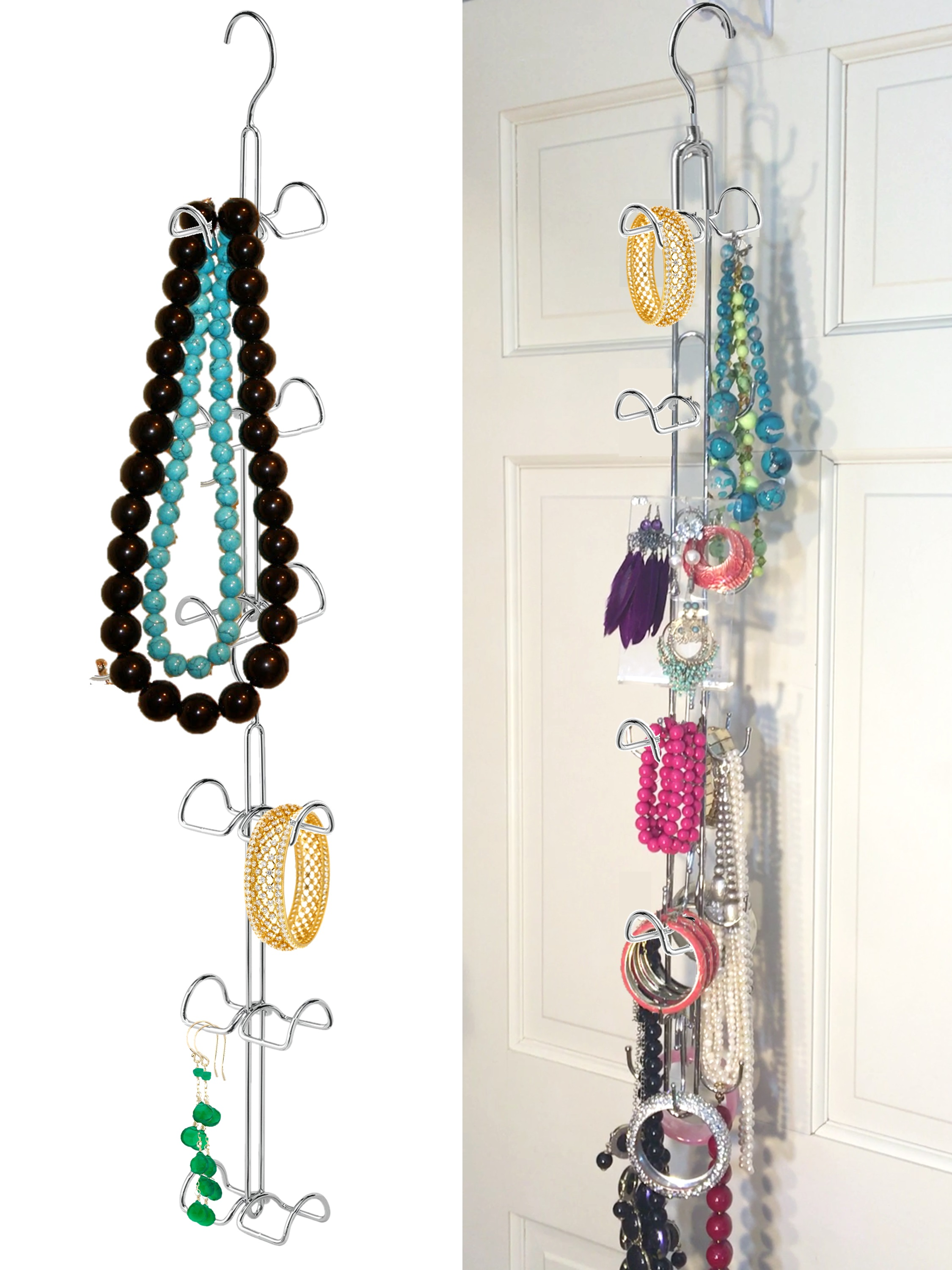 HANGING JEWELRY Organizer Over Door Jewelry Storage 360 ROTATING