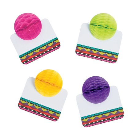 Cinco De Mayo Party Favors (Fun Express - Fiesta Tissue Ball Place Cards for Cinco de Mayo - Party Supplies - Favors - Placecards And Holders - Cinco de Mayo - 24)