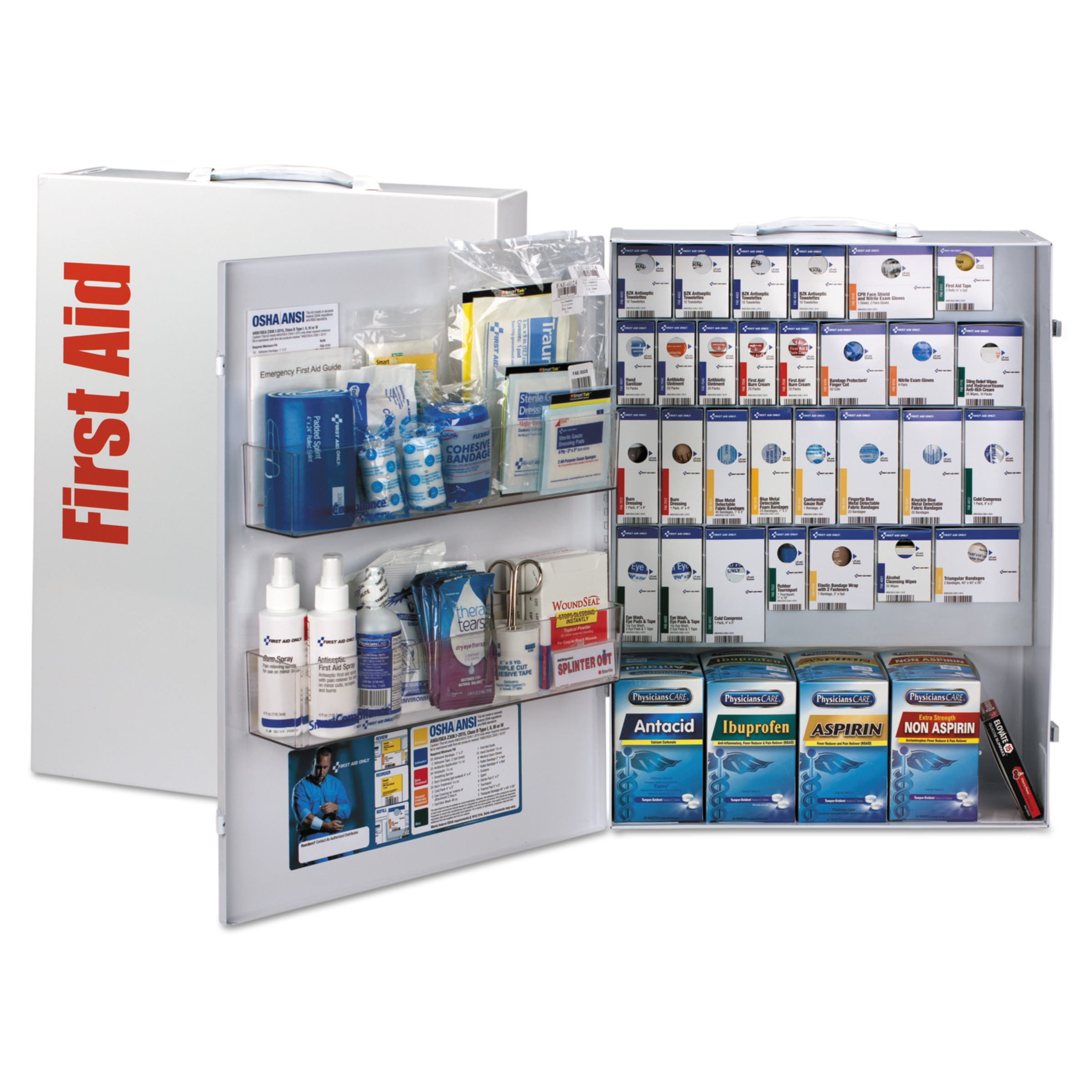First Aid Only ANSI 2015 SmartCompliance Food Service Cabinet w/ Medicine,150 People,953 Piece