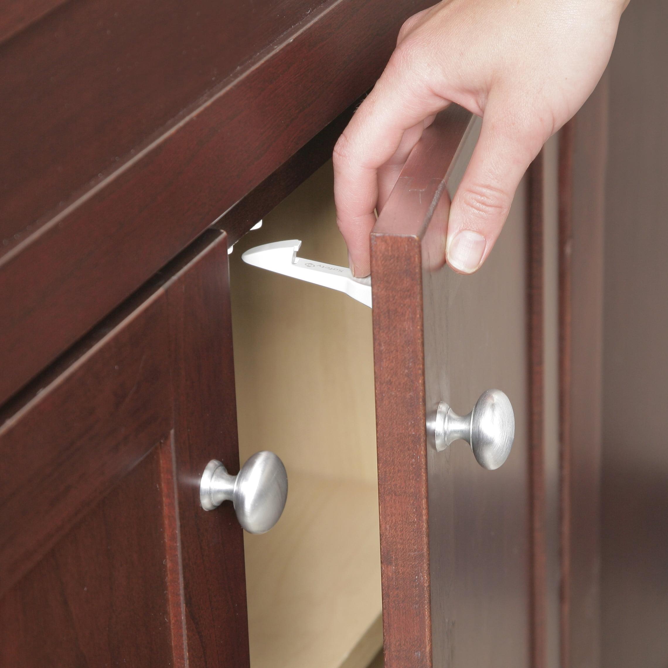 Safety 1ˢᵗ Spring-Loaded Cabinet & Drawer Latch (10pk), White