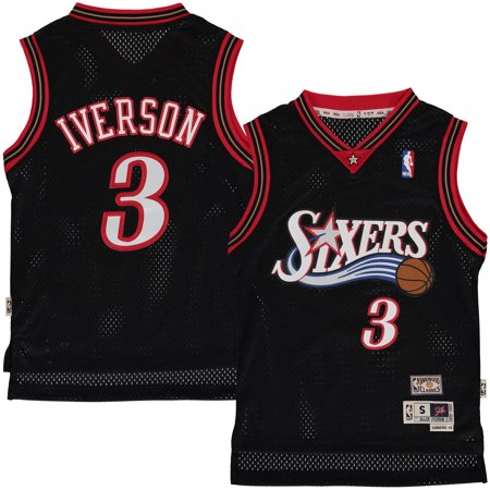 Mitchell   Ness - Allen Iverson Philadelphia 76ers Mitchell   Ness Youth  Hardwood Classics Swingman Jersey - Black - Yth S - Walmart.com fe273b999