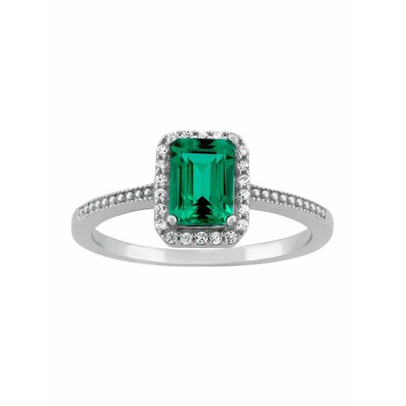 Created Emerald Cross - Created Emerald and CZ Sterling Silver Emerald-Cut Halo Ring