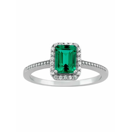 Created Emerald Ring (Created Emerald and CZ Sterling Silver Emerald-Cut Halo Ring)