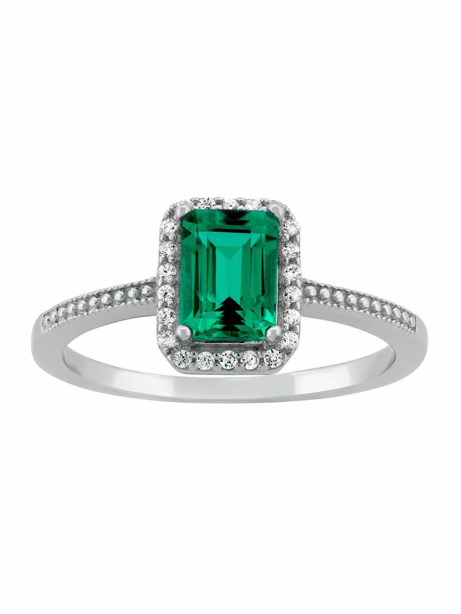 Created Emerald and CZ Sterling Silver Emerald-Cut Halo Ring