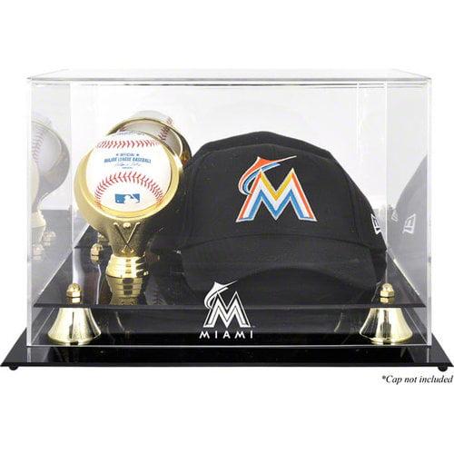 MLB - Miami Marlins Acrylic Cap and Baseball Logo Display Case