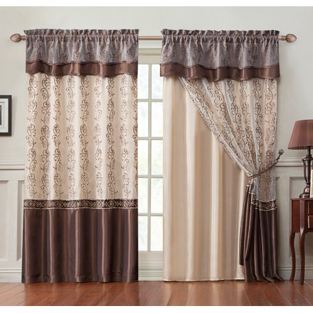Single (1) Window Curtain Drapery Panel: Double-Layer , Gold Back Panel with Chocolate Embroidered Sheer Front and Valance, - Pickup Front Bumper Valance