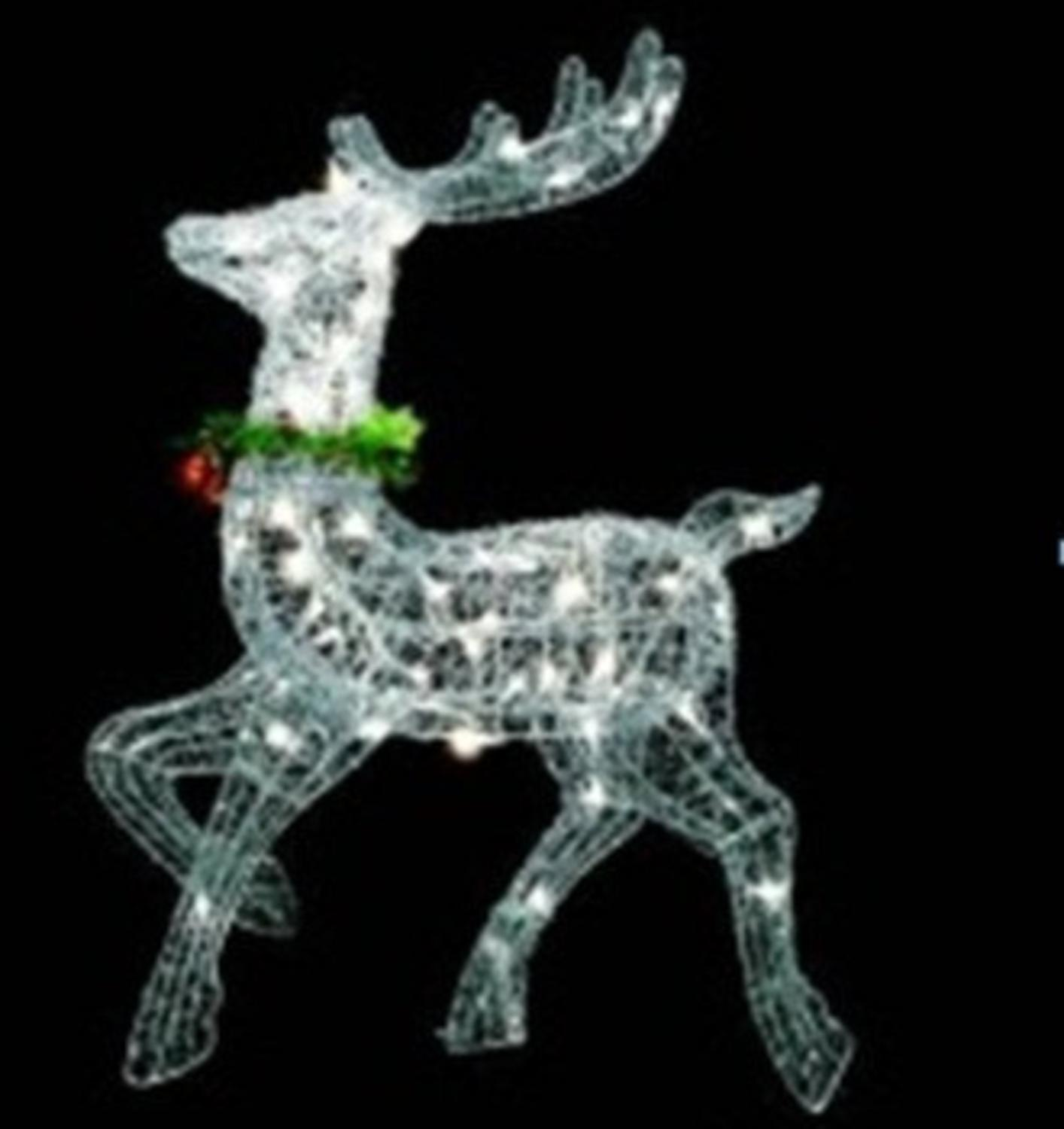 "25"" Lighted Silver Sisal Prancing Reindeer Christmas Yard Art Decoration"