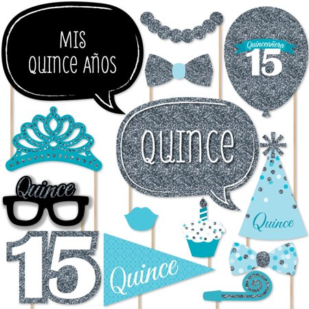 Quinceanera Teal - Sweet 15 - Birthday Party Photo Booth Props Kit - 20 Count for $<!---->