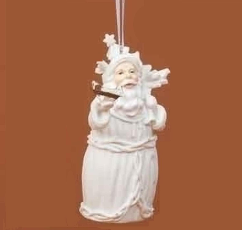 Winter's Beauty White Santa Claus Holding Gift Sack Christmas Ornament