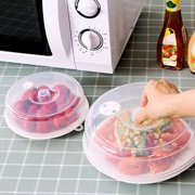 2PCS Plastic Microwave Plate Cover Clear Steam Vent Splatter Lid Food Dish