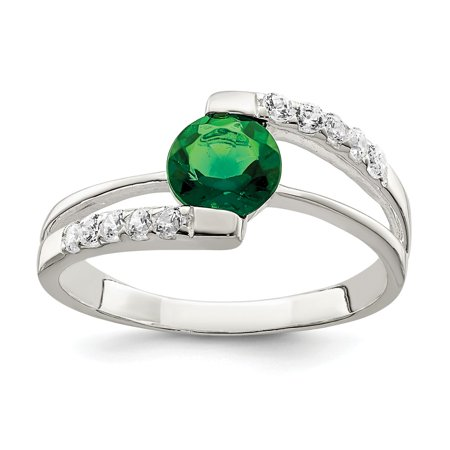 Accent Ring Jewelry (Roy Rose Jewelry Sterling Silver Green CZ with CZ Accents Ring)