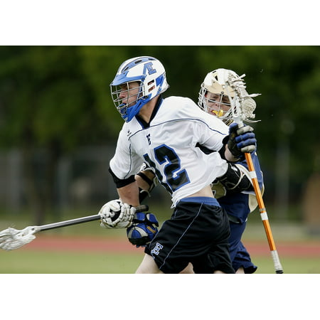 Laminated Poster Helmet Game Lacrosse Player Sport Stick Playing Poster Print 24 x (Playing Stick)