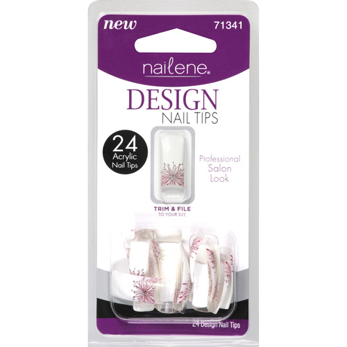 Nailene Design Nail Tips, Flowers, 24 count