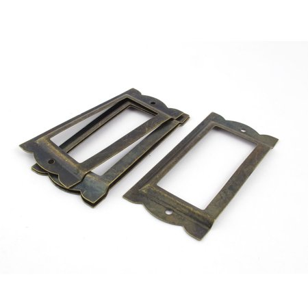 Office Library 85 x 42mm File Drawer Tag Label Holder Bronze Tone 4 Pcs (Library File)