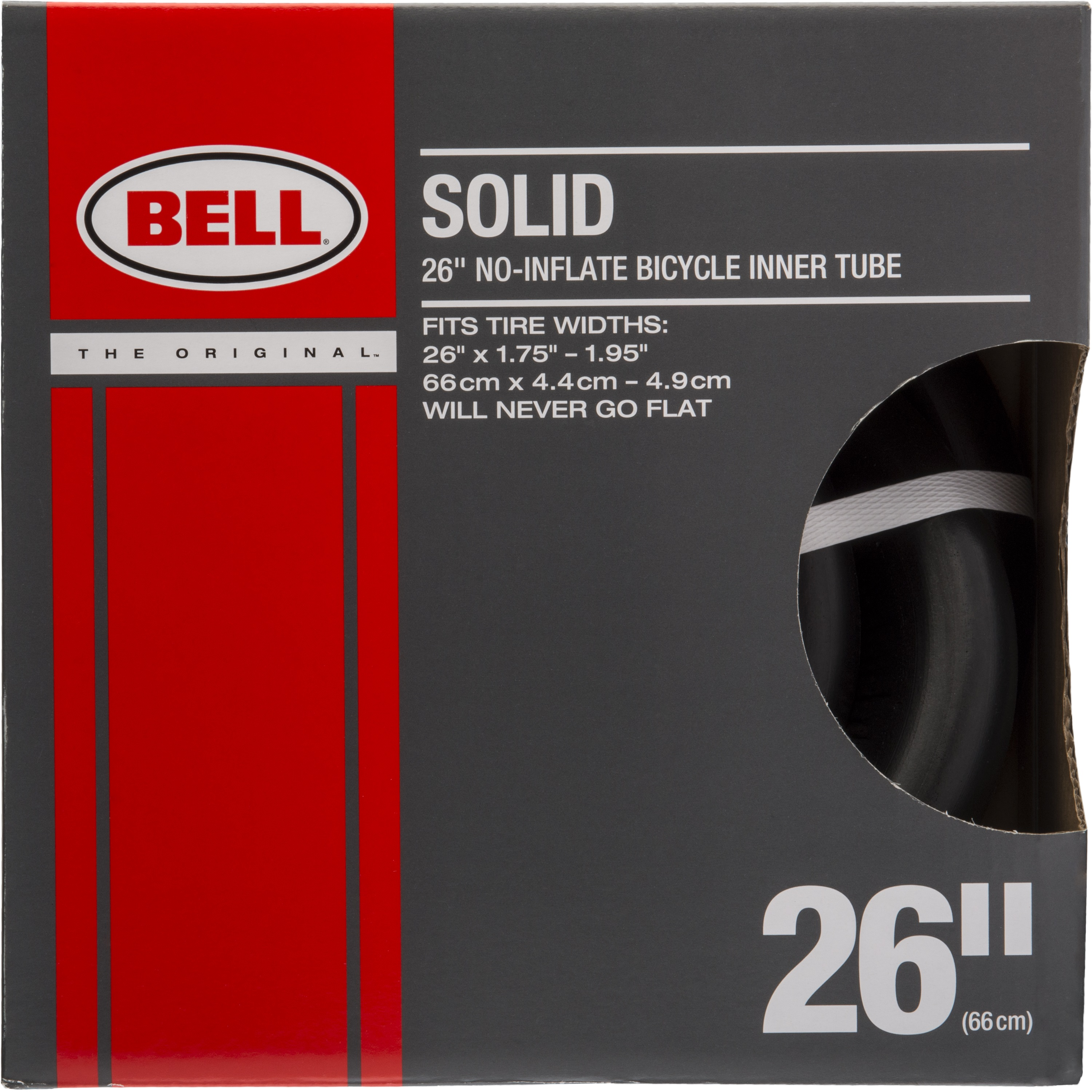 """Bell Sports Solid Bicycle Inner Tube, 26"""" x 1.75-1.95"""", Black"""