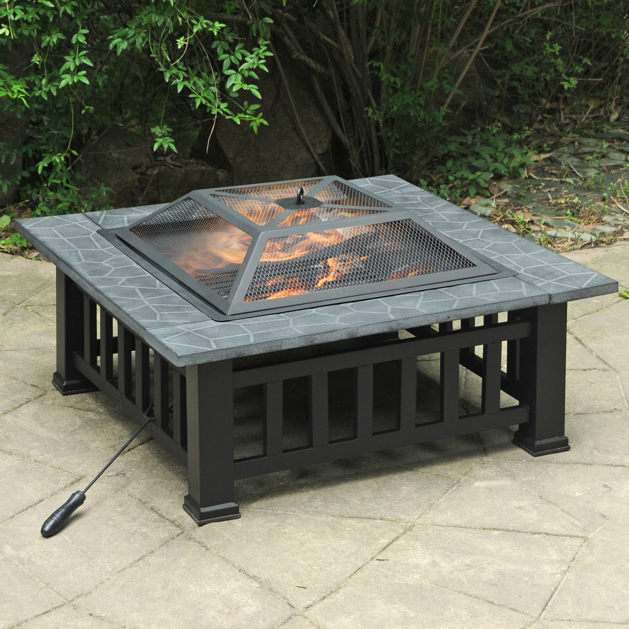 Axxonn 32 Alhambra Fire Pit With Safety Screen And Weatherproof Cover Wood Burning Fire Bowl Walmart Com Walmart Com