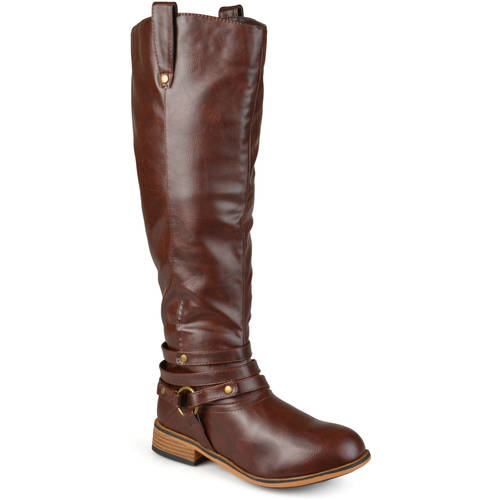 Brinley Co. Women's Wide-Calf Knee-High Ankle-Strap Riding Boot