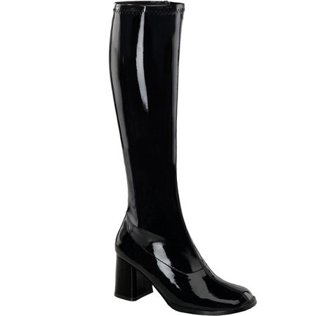 Womens Black Boots 3 Inch Chunky Heel Stretch Go Go Boots Knee Highs - Go Go Boots 1960