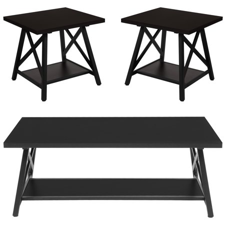 Terrific Hancock Park Collection Flash Furniture 3 Piece Coffee And End Table Set In Rustic Espresso Wood Finish Gamerscity Chair Design For Home Gamerscityorg