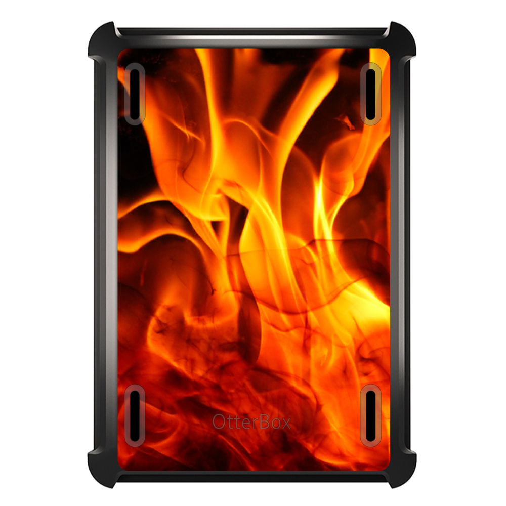 CUSTOM Black OtterBox Defender Series Case for Apple iPad Mini 4 - Red Black Flame Fire
