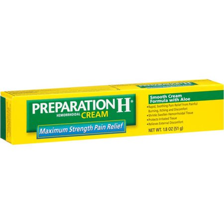 Preparation H Anti-Itch Hemorrhoid Treatment Cream with Hydrocortisone 1% (1.8 Ounce), Maximum Strength Relief, (Preparation System)