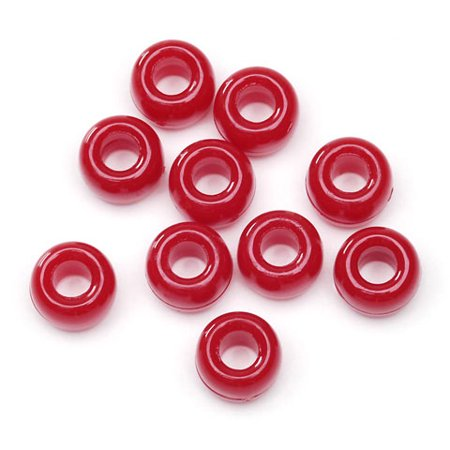 Pony Beads Bulk Pack: 1000 Opaque Red Pony - Wood Beads Bulk