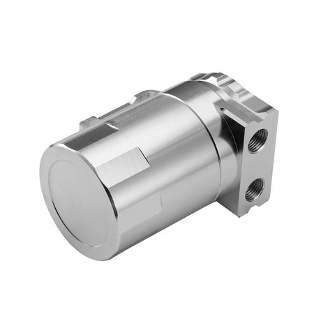 Aluminum Engine Silver Baffled Oil Catch Can Tank Reservoir Breather With Fittings Solid - image 1 of 7