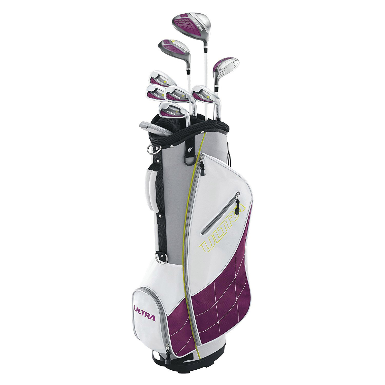 Wilson Ultra Womens Right Handed Super Long Golf Club Set with Cart Bag, Plum by Wilson