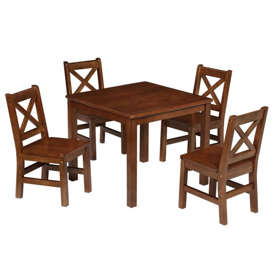 Kids Table And Chairs Set Espresso: EHemco Kids 5 Piece Table And Chairs Set X Back Chairs