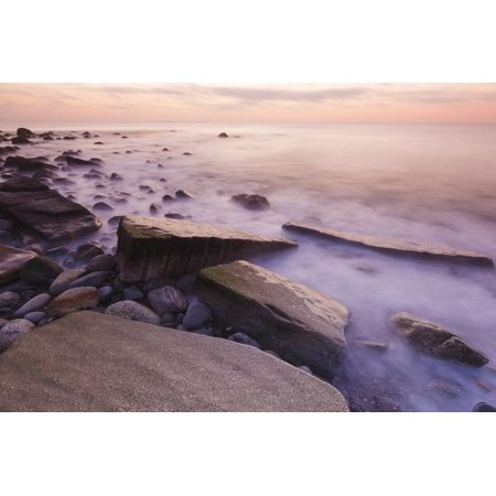 Waves Wash over the Rocks at Rye Harbor SP in Rye, New Hampshire Print Wall Art By Jerry & Marcy Monkman