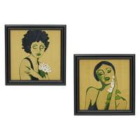 "Flower Women, Black 16.75""x16.75"" Frame, Set of 2 by Drew Barrymore Flower Home"