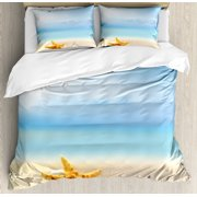Starfish Decor King Size Duvet Cover Set, Scallop Seashell and Starfish Close Up on Sandy Beach Idyllic Ocean Backdrop, Decorative 3 Piece Bedding Set with 2 Pillow Shams, Multicolor, by Ambesonne