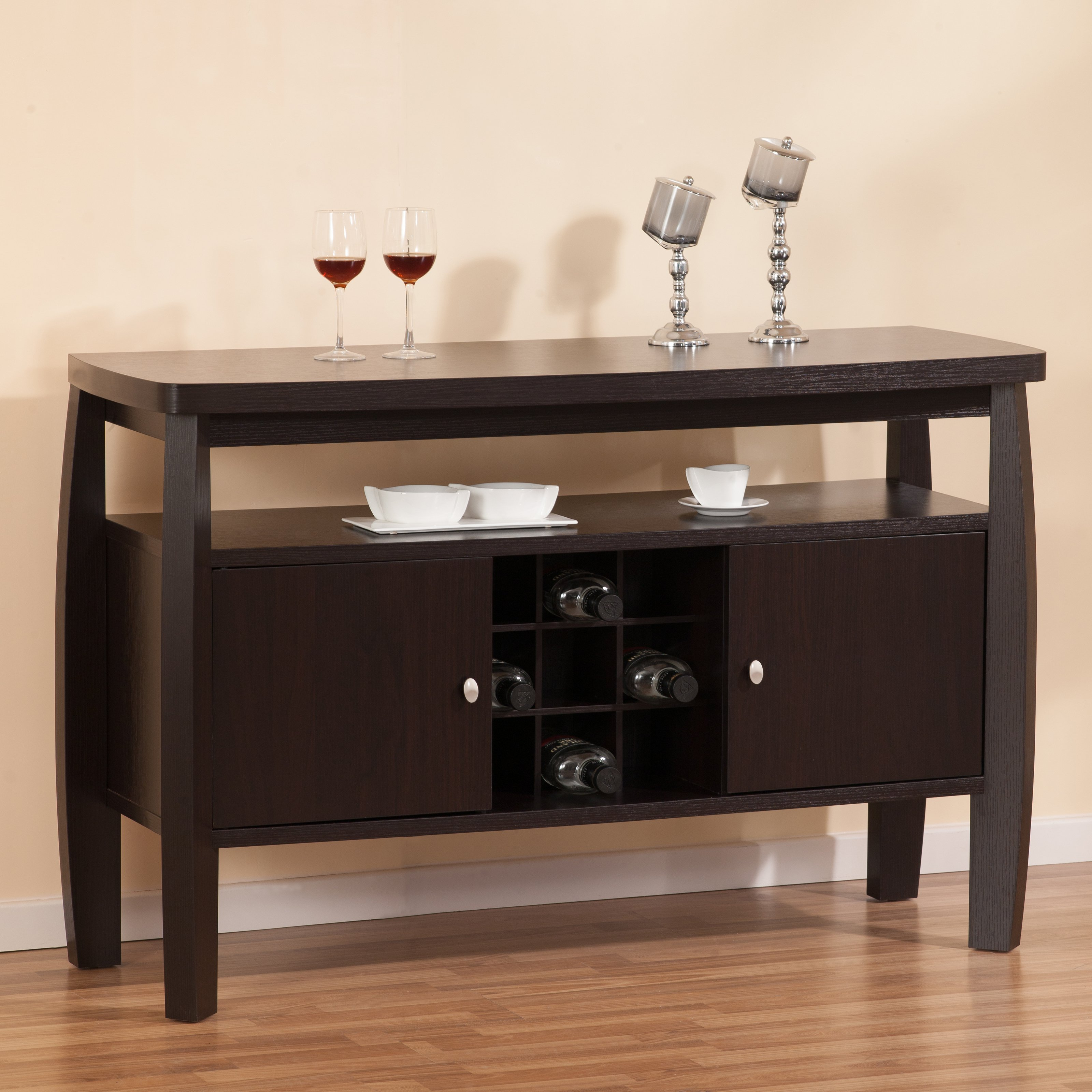 Furniture of America Nova Dining Buffet Table with 9-Bottle Rack by Enitial Lab